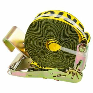 Erickson Flat Hook Yellow 2in Wide X 30ft Long Ratchet Strap Tie Down 10 000lb