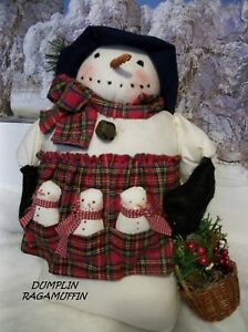 Primitive Doll Snowman Christmas Decor Hand Made By Dumplinragamuffin