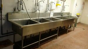 Large 14 Foot Stainless Steel Three Basin School Industrial Size Sink Dye