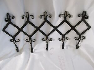 Vintage French Style Metal Wall Mount Coat Hat Rack W 5 Metal Hooks