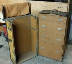 Antique Everwear Wardrobe Steamer Trunk Chest Luggage Leather Bound Tweed Cover