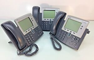 Lot 3 Cisco Cp 7942g Unified Ip Phones W Handset Cable Stand