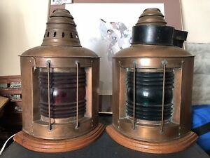 2 Large 15 Antique Brass Perko Maritime Ship Dock Kerosene Oil Lanterns