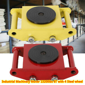New Heavy Machine Dolly Skate Roller Machinery Mover 6t 13200 Lbs Yellow Red