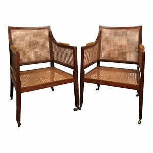 Hollywood Regency Pair George Iii Caned Library Chairs On Castors Peg Caned