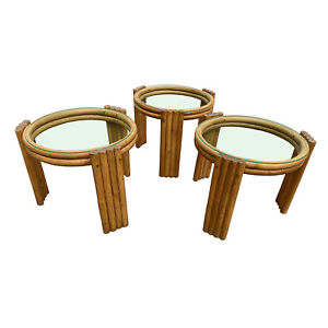 Vintage 1950s Frankl Rattan Side Tables Set Of 3 Palm Beach Mid Century Modern