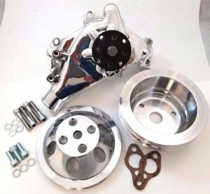 Polished Sb Chevy Sbc Aluminum Long Water Pump Billet Aluminum Pulley Kit