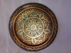 Antique Damascus Syria Brass Tray Silver Copper Inlaid Decor