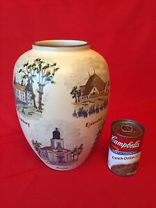 Large Danish Pottery Vase Hand Painted 1930s Signed Emil Ruge Danish Landmarks