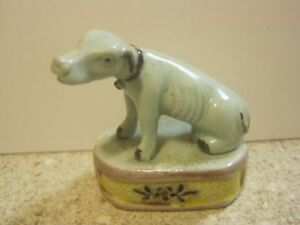 Antique Chinese Export Light Celadon White Colored Hound Dog Figurine 2
