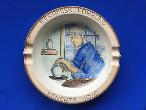 1942 Danish Studiopottery Soholm Bornholm Commemorative Ashtray Federal Congress