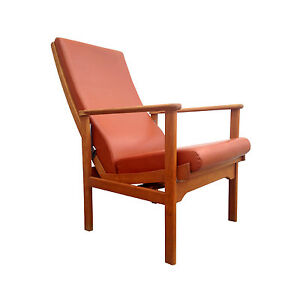 Vintage Scandinavian Mid Century Modern Adjustable Lounge Chair Danish Orange