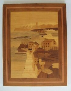 Vintage Marquetry City Seaside Ocean Front Village Artwork Wood Inlay Picture