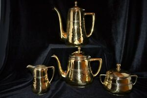 Wmf Hammered Arts And Crafts Brass Coffee Set 4 Pieces