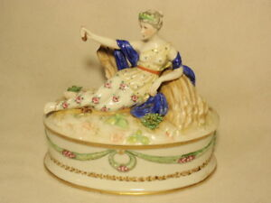 Germany Ackermann Fritze Volkstedt Lady Figural Jewelry Trinket Box As Is