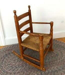 Rare Antique Maple Shaker Wooden Ladder Back Thatched Youth Rocking Chair 1920