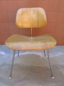 Vintage 1940s Charles Ray Eames Dcm Molded Blond Plywood Metal Chair