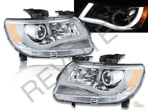 2015 2018 Chevy Colorado Led Plank Style Chrome Projector Headlights Rh Lh