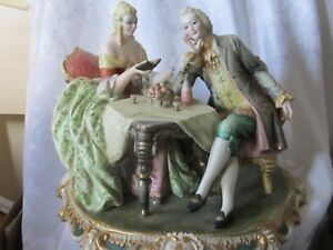 Antique Large Ceramic Victorian Figurine Marked Italy
