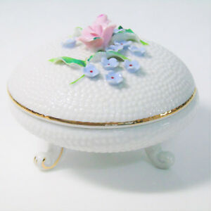 Japan Porcelain Footed Hobnail Trinket Dresser Box Dish Capodimonte Style Flower