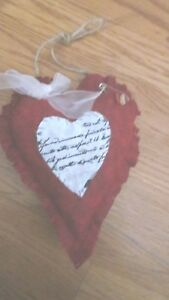 Primitive Valentine Sday Red Heart Wall Hanging W Rusty Pin Buttons 2