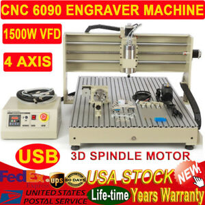 Usb 4 Axis Cnc6090 Router Engraver Milling Engraving Machine 1500w Vfd Spindle