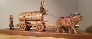 Vintage German Carved Wood Beer Water Wagon Drawn By Horse Ox With Man Woman