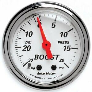 Autometer 1372 Arctic White Mechanical Boost Vacuum Gauge