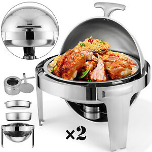 2pcs Chafing Dish Pans 6 Quarts 6 8 L Round Roll Top Chafer Food Pans On Sale