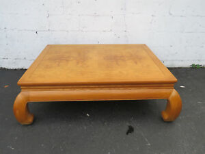 Hollywood Regency Mid Century Golden Oak Large Coffee Table By Henredon 8944