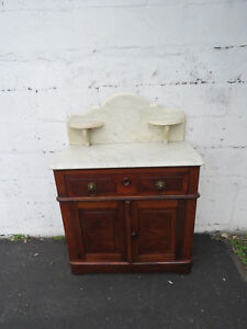 Late 1800s Victorian Carved Marble Top Washstand Cabinet 8976