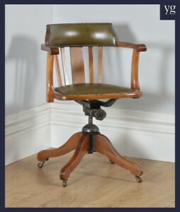 Antique English Edwardian Oak Green Leather Revolving Office Desk Arm Chair