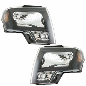 Headlight Lamp Halogen Black Lh Rh Pair Set For 09 14 Ford F150 Pickup Truck New