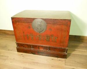 Antique Chinese Hand Painted Trunk 5712 Red Lacquer Circa 1800 1849