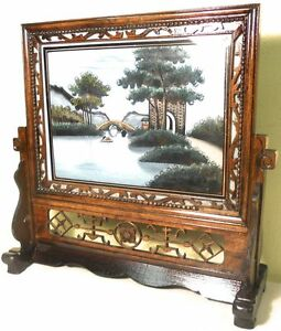 Antique Chinese Reverse Glass Painting On Stand 5847