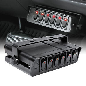 6 Gang 12v Dc 80a On Off Rocker Switch Box For Jeep Auto Automotive Car Marine