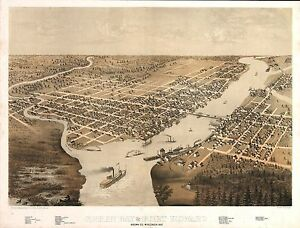 Wi17 Antique Old Pano Map Wisconsin Genealogy History Green Bay Fort Howard 1867