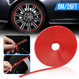 Red Car Wheel Hub Rim Edge Protector Ring Tire Guard Sticker Line Rubber Strip