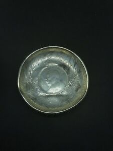 Antique Chinese Silver Export Bamboo Etched Tray Dish Dollar Coin