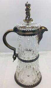 George Fox Antique English Victorian Sterling Silver Glass Carafe Pitcher Jug