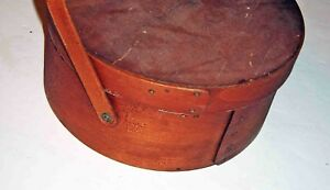 Wonderful Mid 19th Cent Shaker Sewing Box Basket W Handle W Orig Floral Lining