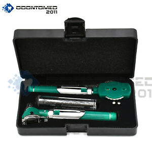 Premium Fiber Optic Otoscope Ophthalmoscope Examination Led Diagnostic Ent Green
