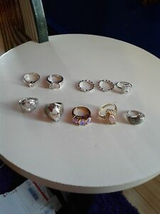 Sterling Silver Cubic Zirconia And Marcasite Lot Of 10 Rings Multiple Sizes