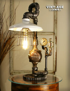 Industrial Steampunk Single White Shade Gauge Lamp Limited Time