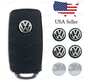 4 Pieces Key Fob Logo Sticker Emblem 14mm For Volkswagen Vw Black Usa