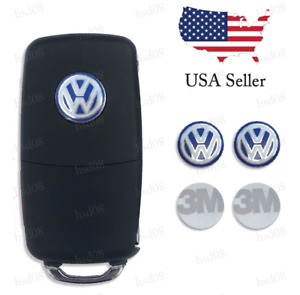 2 Pieces Key Fob Remote Logo Badge Sticker Emblem 14mm For Volkswagen Vw Blue