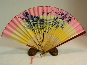 Vintage Bamboo Hand Painted Paper Hand Fan 16 X 9 Very Good Condition Japan
