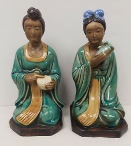 Two Beautiful Sancai Ming Dynasty Glazed Chinese Pottery Geisha Girls