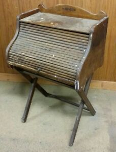 Nice Antique Folding Collapsible Childs Roll Top Desk With Pull Out Work Table