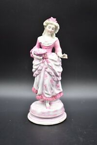 Old Paris French Pink Rococo Victorian Woman Garinture Porcelain 8 1 2 Figurine